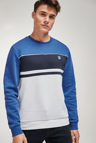 Buy Blue Block Crew Neck Sweatshirt from Next Austria