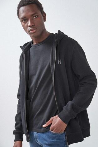 Black Zip Through Hoody