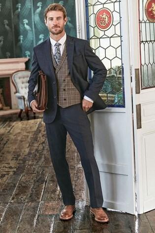 Blue Regular Fit Check Suit: Jacket
