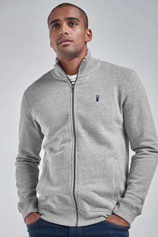 Grey Marl Zip Through Funnel Neck Top