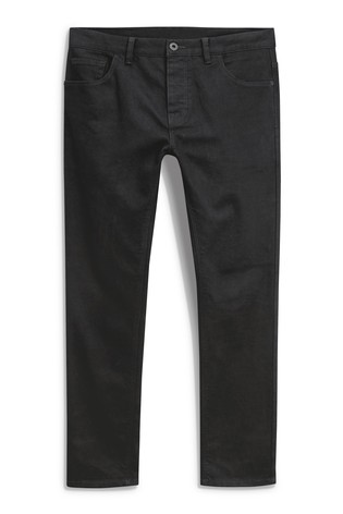 Solid Black Straight Fit Jeans With Stretch