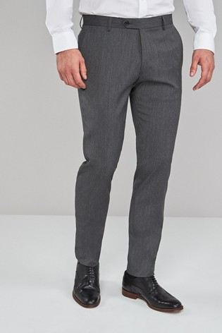 Grey Skinny Fit Stretch Formal Trousers