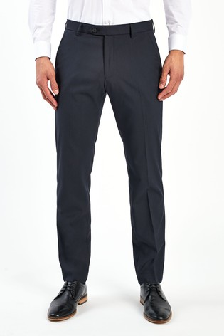 Navy Tailored Fit Stretch Formal Trousers