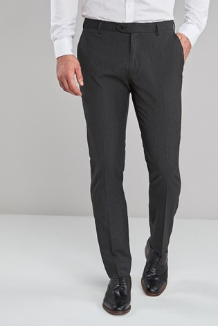 Charcoal Skinny Fit Stretch Formal Trousers