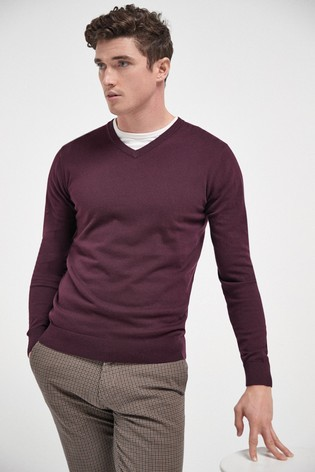 Plum V-Neck Cotton Rich Jumper