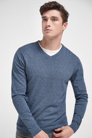 Mid Blue Cotton Rich V-Neck Jumper