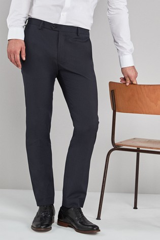 Navy Skinny Fit Stretch Formal Trousers