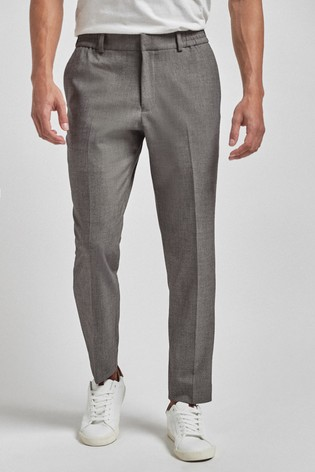 Light Grey Slim Tapered Bi-Stretch Suit: Trousers