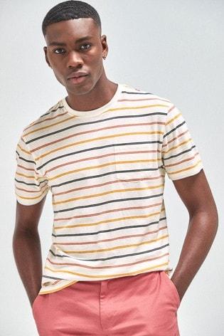 Ecru Fine Stripe Regular Fit T-Shirt