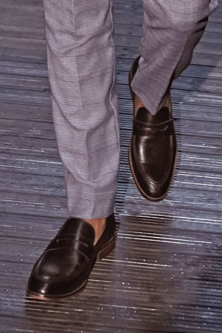Black Leather Contrast Loafers