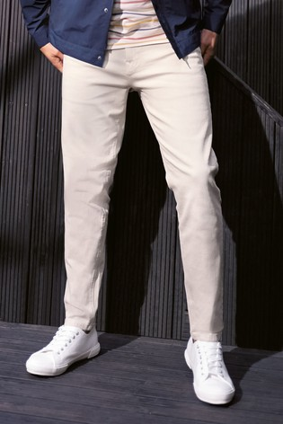 Ecru Tapered Slim Fit Garment Dyed Jeans With Stretch