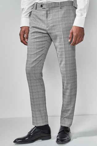 Light Grey/Blue Skinny Fit Check Suit: Trousers