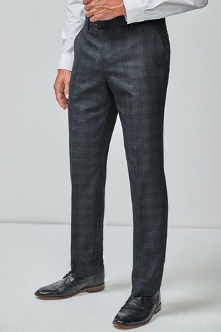 Blue/Tan Regular Fit Check Suit: Trousers