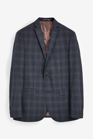 Navy Tailored Fit TG Di Fabio Signature Check Suit: Jacket