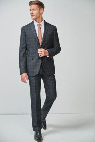 Blue/Tan Regular Fit Check Suit: Jacket