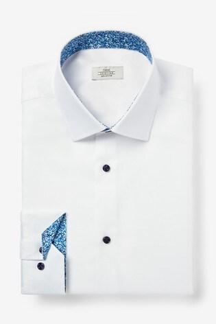 White Regular Fit Single Cuff Trim Detail Shirt