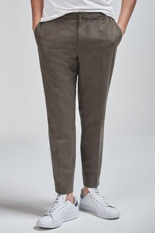 Khaki Drawstring Formal Trousers