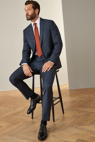 Blue Jacket Signature Bold Check Slim Fit Suit