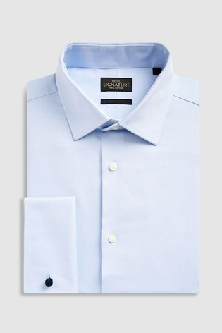 Light Blue Regular Fit Double Cuff Signature Textured Shirt