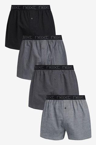 Black Pattern Woven Boxers Pure Cotton Four Pack