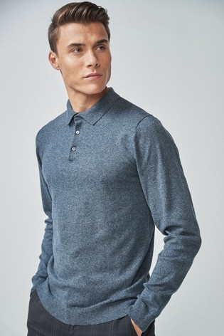 Mid Blue Marl Knitted Polo