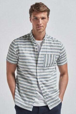 Blue Regular Fit Stripe Linen Blend Short Sleeve Shirt