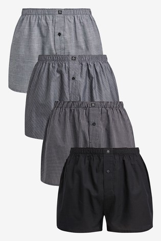 Black/Grey Pattern Woven Pure Cotton Boxers 4 Pack