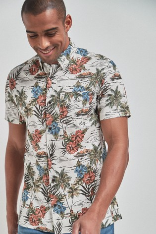 White Regular Fit Floral Print Shirt
