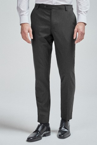 Charcoal Slim Tapered Stretch Formal Trousers