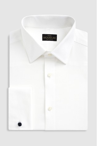White Regular Fit Double Cuff Signature Textured Shirt