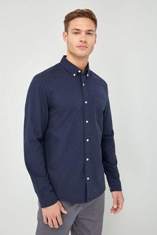 Navy Regular Fit Long Sleeve Oxford Shirt