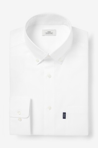 White Slim Fit Single Cuff Easy Iron Button Down Oxford Shirt