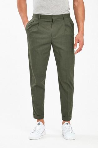 Khaki Twin Pleat Trousers