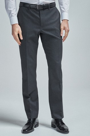 Charcoal Regular Fit Belted Stretch Trousers
