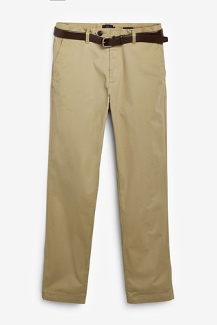 Stone Straight Fit Signature Soft Touch Leather Belt Chino Trousers