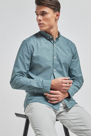 Mid Blue Slim Fit Long Sleeve Stretch Oxford Shirt