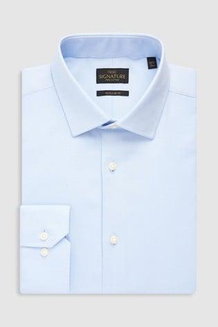 Light Blue Regular Fit Single Cuff Signature Textured Shirt