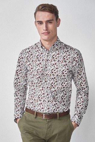 White Slim Fit Single Cuff Floral Print Shirt