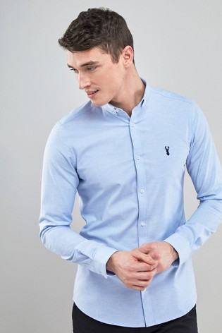 Light Blue Skinny Fit Long Sleeve Stretch Oxford Shirt