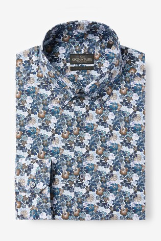 Blue/Navy Floral Slim Fit Single Cuff Italian Fabric Texta Signature Shirt