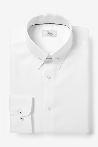 White Slim Fit Textured Shirt With Collar PIn
