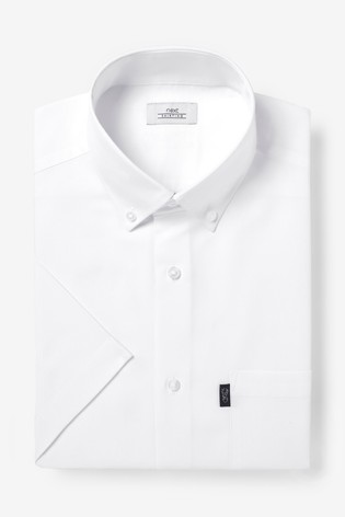 White Slim Fit Short Sleeve Easy Iron Button Down Oxford Shirt