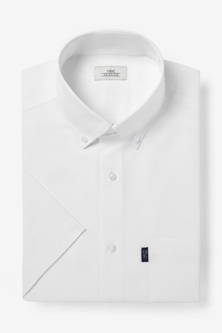 White Regular Fit Short Sleeve Easy Iron Button Down Oxford Shirt