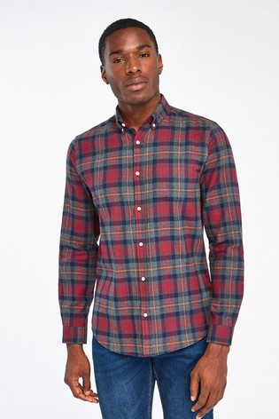 Grey/Red Slim Fit Brushed Flannel Check Long Sleeve Shirt