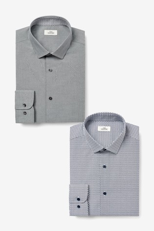 Grey Slim Fit Plain And Print Shirts Two Pack