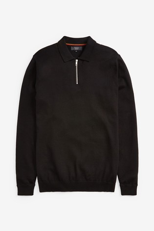 Black Knitted Zip Neck Poloshirt