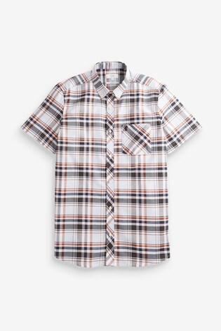 Light Blue Slim Fit Short Sleeve Madras Check Shirt