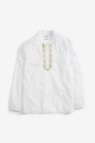 White Regular Fit Embroidered Tunic