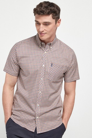 Rust/Navy Regular Fit Short Sleeve Gingham Stretch Oxford Shirt