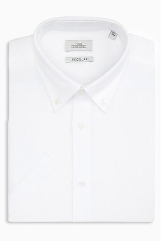 White Regular Fit Short Sleeve Easy Care Oxford Shirt